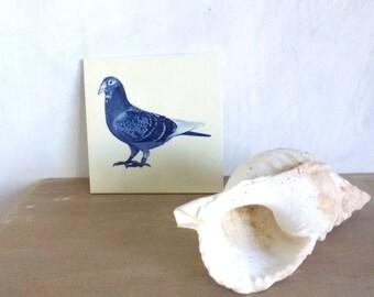 bird tile- blue white ceramic- animal gift- home interior present