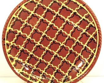 Vintage Red Ware Pie Plate Primitive Country Kitchen Decorator Henderson