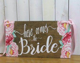 Here Comes the BRIDE Sign/YOU Choose Back/ Photo Prop/Floral/Pink/Reversible Options/Wood Sign/Wedding Sign/Fast Shipping/Watercolor