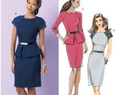Butterick B5520 Misses' Peplum Dress with Sleeve Variations Sewing Pattern 8-14