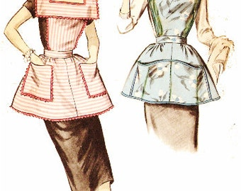 Advance 8163 Vintage 1950s Bib Apron in Two Styles Sewing Pattern