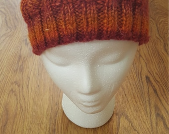 Orange and rec slouchy beanie
