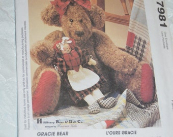 McCalls 7981 Gracie Bear andher Doll Sewing Pattern - UNCUT