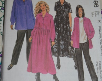 McCalls 9096  Womens / Womens Petite Dress Shirt and Pull on Pants Sewing Pattern - UNCUT -  Size 28W 30W 32W 46 48 50