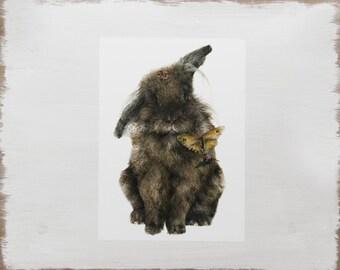 Rabbit Print -- Botanical Animal Print // Watercolour butterfly illustration // Limited Edition Art
