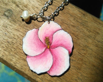 Pink Hibiscus Necklace -Pastel Pendant -Tropical Flower - Pearl