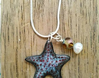 Starfish Necklace -Sea Star - Freshwater Pearl