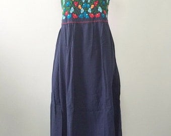 Maxi Embroidered Dress Mexican Cotton Long Dress In Blue
