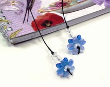 Blue Flower Bookmark, Beaded Bookmark, Gifts for Women, Unique Bookmarks, Womens Gift, Cute Bookmarks, Book Lover Gift, Christmas Gifts