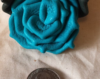 Turquoise Deerskin Leather Rose Pin
