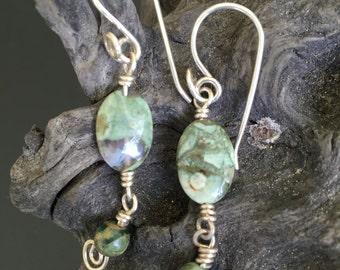 Earrings,  Green Agate and Sterling Silver Earrings, Handmade Earrings!