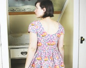 Foxy Fox Dress - Open, Low, Back Backless, Short Sleeves, Tula Pink, Floral