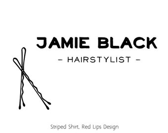 LOGO & BUSINESS CARD Package // Hairstylist // Premade Logo // Minimal Hipster // Black and white //Branding Small Owner Hairdresser