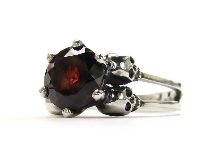 Double Skull Wedding Ring with Red Garnet in Sterling Silver - All Sizes