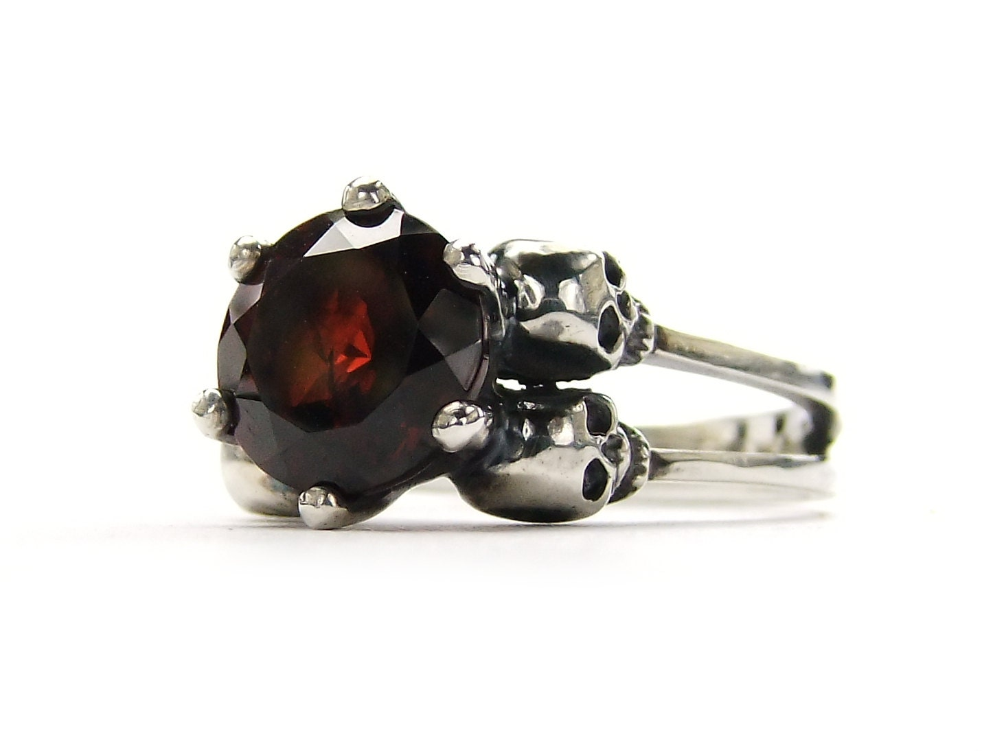 double skull wedding ring with red garnet in sterling silver all sizes - Garnet Wedding Ring
