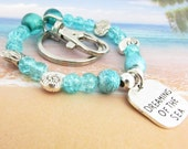 Keychain Bracelet, Wrist Keychain, Bracelet Keychain, Wrist Key Fob, Wristlet Keychain, Shell Keychain, Dreaming of the Sea Keychain