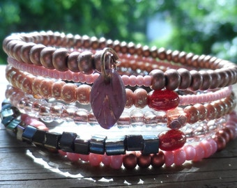 Memory wire 5 wrap bracelet in Dusty Pink Czech and Myuki Beads