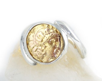 Ancient Coin Ring - Roman Commander - 925 Sterling Silver, 18k GOLD - swirl band - men & women's coin ring