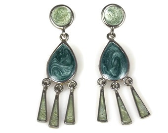 Blue Green Enamel Fringe Dangle Earrings Pierced Ears