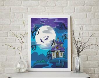 Counted Cross Stitch PATTERN All Hallow's Eve, Cross Stitch Chart