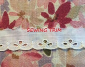 1-1/2 YARDS, WHITE Cotton, Flat Edging Sewing Trim, Embroidered Scallops, 3 Oval Eyelets, 1-3/8 Inch Wide, L121