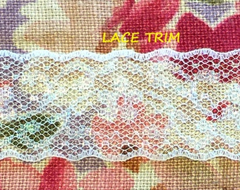 5-1/2 YARDS, WHITE Iridescent Lace Insertion Sewing Trim, Flowers, Netting, Lightly Scalloped Edges, 1-3/16 Inch Wide, L256