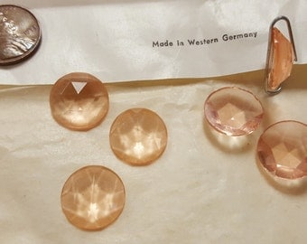 12 Vintage West German Glass Rosaline 15mm. Faceted Round Cabochons 4458