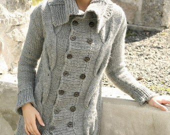 Hand knitted ladies cardigan jacket chunky knit with large cables and collar - made to order