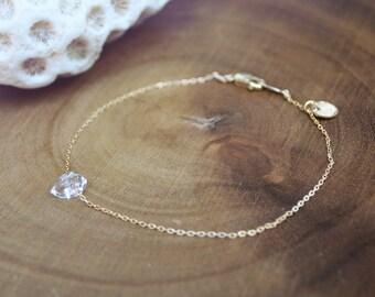 herkimer diamond bracelet /// dainty gemstone bracelet in GOLD or SILVER /// gift under 30 - gift for her - friendship bracelet