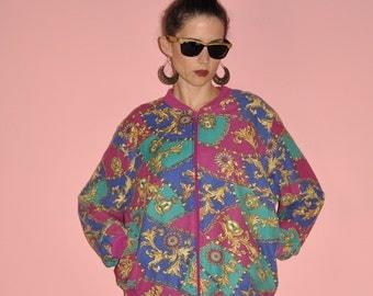 Vintage 80s Pink Fucia Teal Gold Baroque Royal Hip Hop Cotton Bomber Jacket