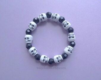 Black White Skull Bracelet Faceted Beads--Kawaii- Gothic- Pastel Goth- Gothic Lolita- Sweet Lolita-Fantasy- Victorian- Creepy Cute