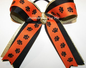 Tiger Cheer Bow, Orange Paw Print Bow, Paw Print Orange Black Gold Ponytail Holder, Orange Cheerleader Bow, Orange Softball Team Spirit Bows