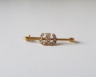 Antique Victorian double horseshoe pin seed pearl and 9ct gold