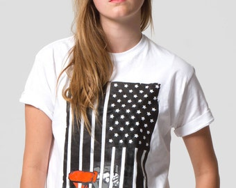 Guantanamo Bay US Flag political t-shirt. Let's Stop 12 years of Human Rights Abuses. Free Shipping.