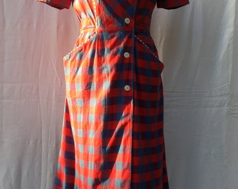 French Vintage 50s Red Check Dress