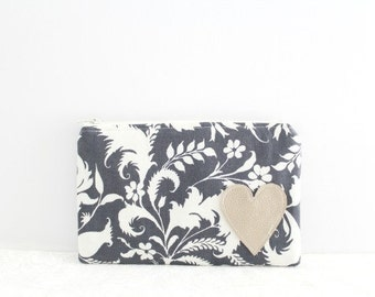 Floral Zipper Pouch Gray Zip Pouch Clutch Bag Pouch Small Makeup Bag Wallet Pouch Gift for Her Small Clutch