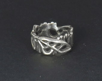 Mechanical Insect Wings Ring - Sculpted Sterling Silver Jewelry with Patina - Abstract Design Ring
