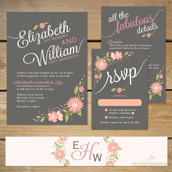 Printable Wedding Invitation Sets: Items Similar To Floral Wedding Invitation Printable