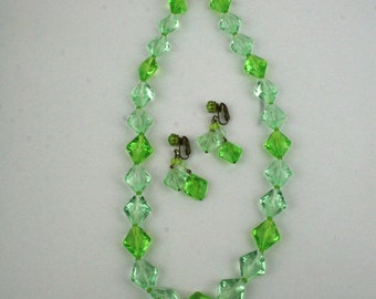 1960s Necklace and Dangle Earring Set Green Facetted Glass West Germany