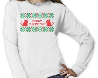 Meowy Christmas Stripe - Women's Sweatshirt