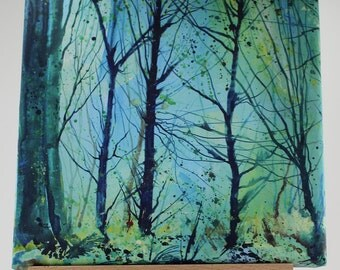 Canvas print of trees, woodland art, tree print on canvas, painting of woods, cornish art, acrylic ink, pine trees