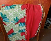 Double Layer Cardinal on Spruce Bough Fleece Blanket with Braided Edges