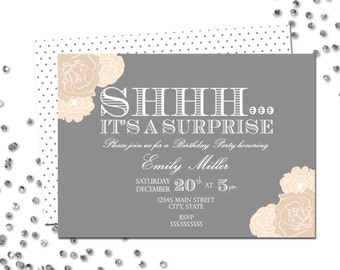 Surprise Birthday Party Invitation - Surprise Birthday - Grey and Tan Cream Flowers - Polka Dot BACKSIDE INCLUDED - Printable