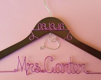 Custom Wedding Hanger with Hanging Heart