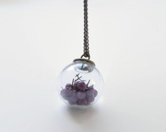 Glass orb necklace with purple berries, glass terrarium necklace, mini terrarium, real flower jewelry, plant glass orb, eco friendly