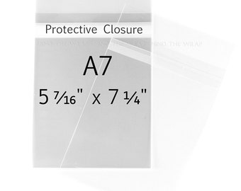 100 - A7-size Clear Bags - 5-7/16 x 7-1/4 inches - for 5 x 7 Cards and Photos - Protective Closure Polypropylene Sleeves Envelopes