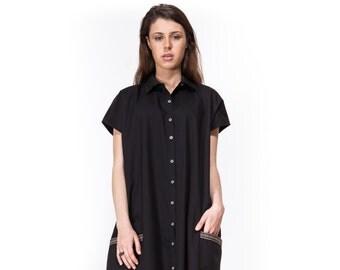 Over size dress \ Short sleeve dress \ black dress \ dress with buttons \ summer dress