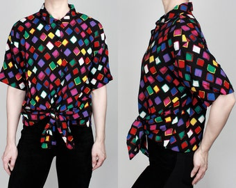 1980s Colorful Diamond Pattern Button Down Short Sleeve Blouse Vintage