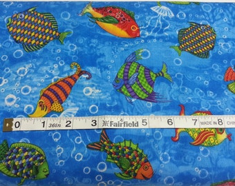 100% cotton Quilting fabric by the 1/2 yard funky fish, ocean, aquarium swimming,  sea blue fun water colorful bubbles
