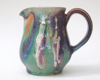 12 oz Creamer, Green Purple Small  Pitcher, two people Pottery Ceramic Pitcher, Pottery creamer pitcher, handmade pottery pitcher.